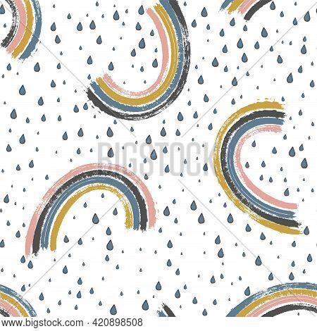 Simple Painted Rainbows And Rain Seamless Pattern. Cute Stripy Arcs On Colorful Rain Texture.