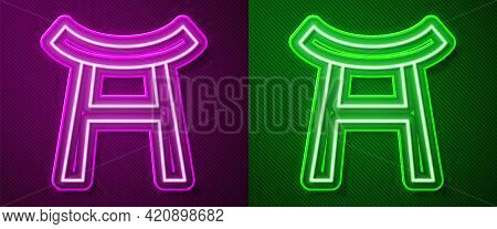 Glowing Neon Line Japan Gate Icon Isolated On Purple And Green Background. Torii Gate Sign. Japanese