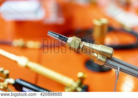 Close Up Acetylene Oxygen Torch Or Tip For Welding Heating Burning Cutting Soldering Brazing In Indu