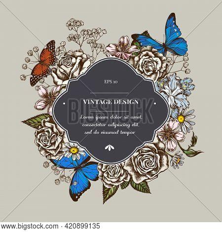 Badge Over Design With Iris Japonica, Gypsophila, Chamomile, Almond, Menelaus Blue Morpho, Blue Morp