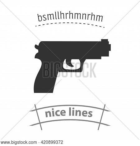 Pistol Simple Vector Icon. Pistol Gun Isolated Icon