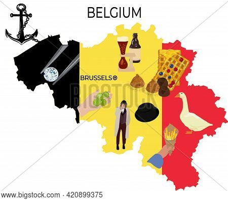 Map Of Belgium Vector Stock Illustration. Brussels. Belgian Tourist Attractions. Isolated On A White