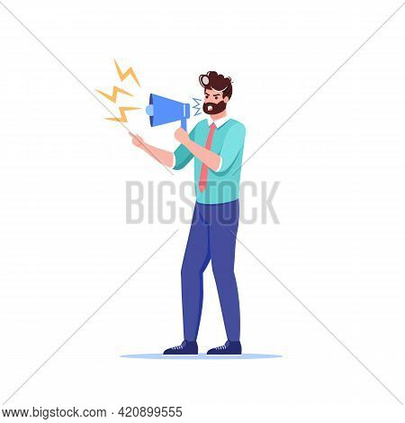 Vector Cartoon Flat Boss Manager Office Character In Work Conflict Scene.angry Boss Shouts In Megaph