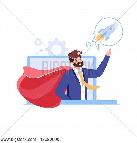 Vector Cartoon Flat Office Character Present Symbol Of New Business From Computer App Screen.happy E