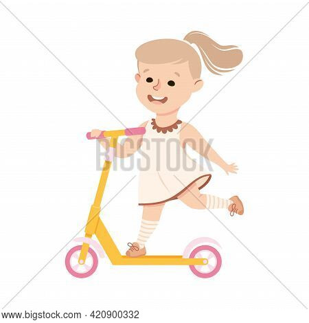 Happy Little Girl Riding On Kick Scooter Pushing Off The Ground Vector Illustration