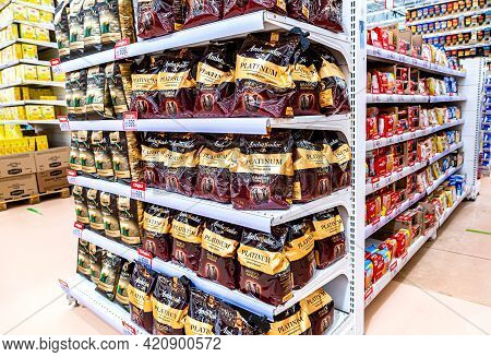 Samara, Russia - May 15, 2021: Packaging Of Ambassador Platinum Coffee Ready For Sale At The Auchan