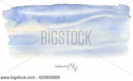 Watercolor Sky Background Pastel Blue Sky Illustration