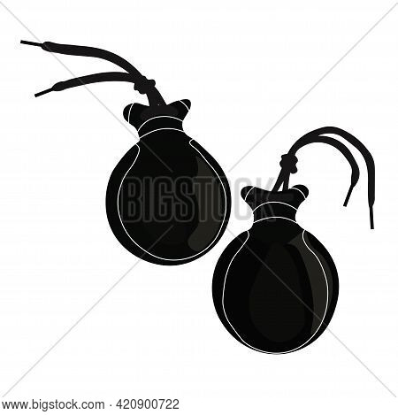 Castanets Vector Stock Illustration. Black And White Template. A Musical Instrument For Spanish Flam