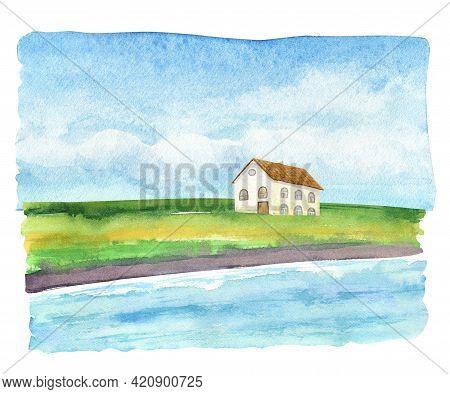 Watercolor Beach House. White House Under Palms. Tropical Landscape Sketch