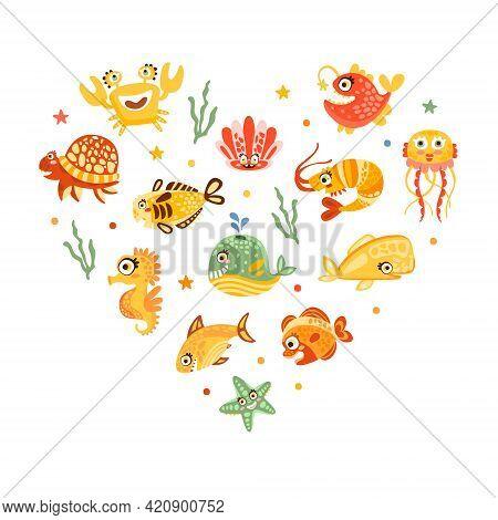 Cute Marine Animal And Comic Underwater Creatures Heart Vector Arrangement