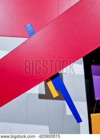 Colorful Paper Art Mobile Closeup.milti-color Paper Hanging For Decoration Background. Red And Yello