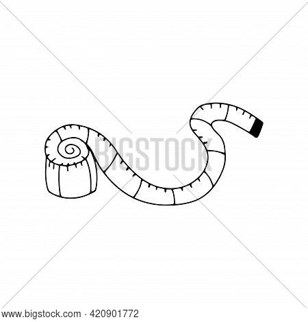 Centimeter. Measurement Tape. Black And White Vector Illustration In Doodle Style Isolated Single