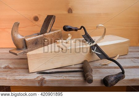 Unusual Carpentry Tool.hand Plane, Scraper Or Woodcutter For Carpenter.curved Knife With Handles Pee