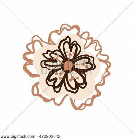 Naive Carved Doodle Neutral Foral Motif Icon. Cute Rustic Folk Silhouette Illustration Clipart. Deco