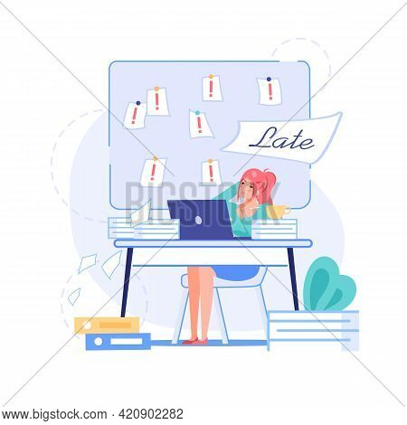 Vector Cartoon Flat Office Worker Character In Work Deadline Scene.tired Employee Works On Laptop, T