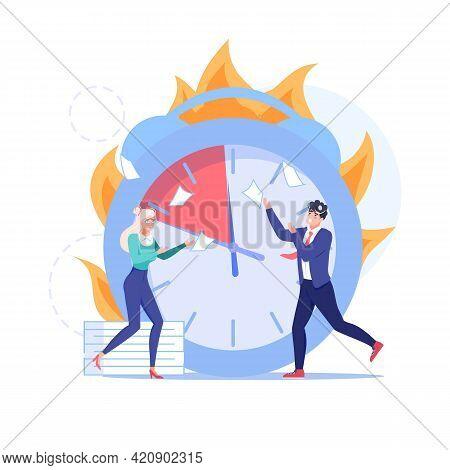 Vector Cartoon Flat Employee Characters, Big Clock At Work Deadline Scene.afraid Upset Office Employ