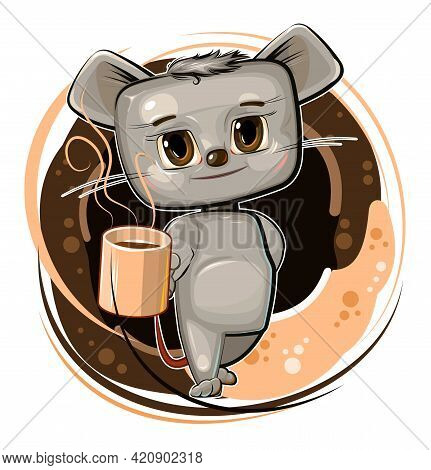 The Mouse Treats With Coffee. Cartoon Flat Style. Young Animal Cub With A Mug. A Cute Baby Offers A