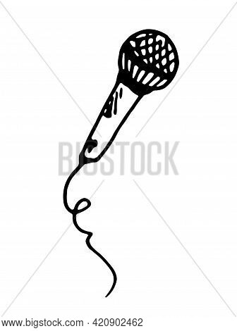 Vector Microphone. Isolated Piece Of Music Equipment, Microphone With Twisted Wire, Hand-drawn In Do