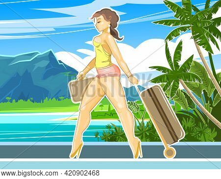 Pretty Girl Goes On Vacation. Seaside With Beach, Mountains And Palm Trees. Beautiful Woman With A S