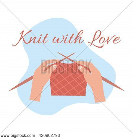 Vector Carton Illustration Isolated On A White Background Of Knitting Process, Female Hand Knit Scar