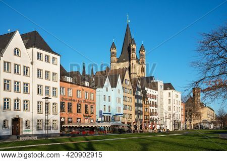 Cologne, Germany - February 4, 2021: Downtown District Of Cologne During Sunrise On February 4, 2021