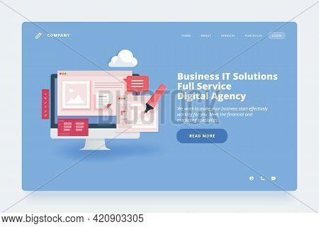 Web Design Template. Vector Illustration Concept Of Website Or Landing Page Design For Design Agency