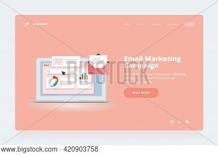 Web Design Template. Vector Illustration Concept Of Website Or Landing Page Design For Email Marketi