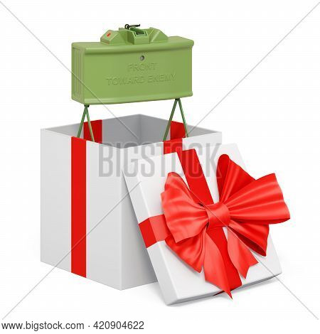 Anti-personnel Mine Inside Gift Box, Present Concept. 3d Rendering Isolated On White Background