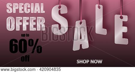 Sale Special Offer. Translucent Glass Or Plastic Letters On Pink Silk Ribbons With Pink Background.