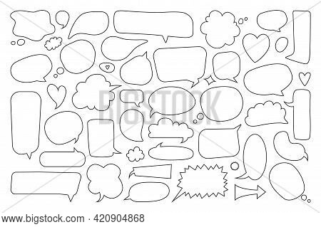 Speech Bubble. Empty Comic Thinking And Talking Balloons. Hand Drawn Doodle Text Bubbles. Cute Blank