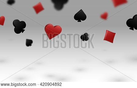 All Suits Of Playing Cards Fall Casting A Shadow On White Background. Vector Illustration For Casino