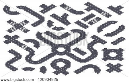 Isometric 3d Roads. Asphalt Highway With Markings, Ring Road, Crossroad, Curved Path. City Street El