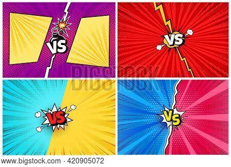 Versus. Cartoon Comic Vs Challenge Backgrounds With Lightning, Halftone Texture. Comics Pop Art Styl