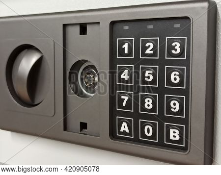 Panel Of Modern Safe With Numeric Keypad. Selective Focus. Mobile Photo.