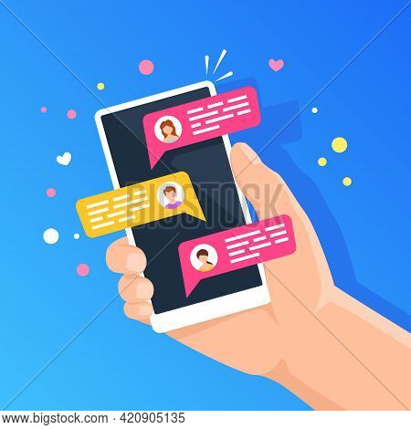 Phone With Online Chat. People Chatting In Smartphone Messenger. Holding Cellphone With Chat Bubbles
