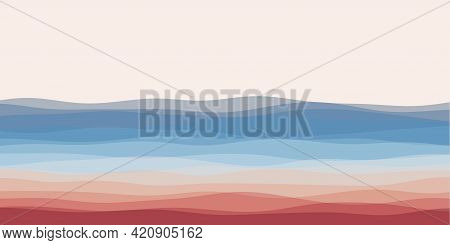 Abstract Waves Cover. Horizontal Background With Curves In Red Blue Colors. Appealing Vector Illustr