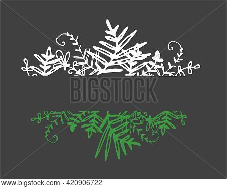 Vintage Vector Set Of Horizontal White And Green Color Templates From Organic Plants.isolated Leaf B