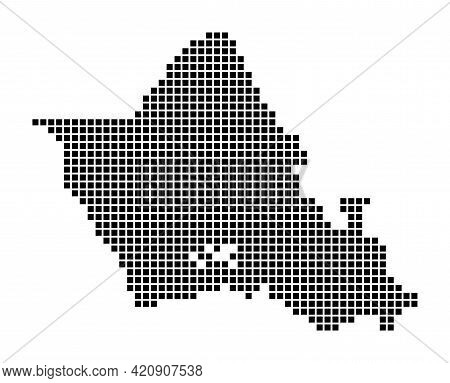 Oahu Map. Map Of Oahu In Dotted Style. Borders Of The Island Filled With Rectangles For Your Design.