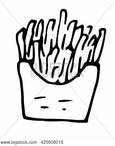French Fries Flying To Paper Box. Sketch Style Hand Drawn Illustration. Fried Potato. Fast Food Retr