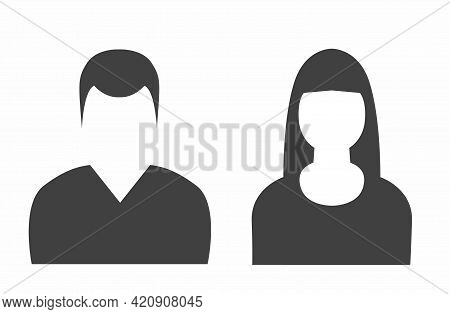 Man And Woman Empty Avatars Set. Vector Photo Placeholder For Social Networks, Resumes, Forums And D