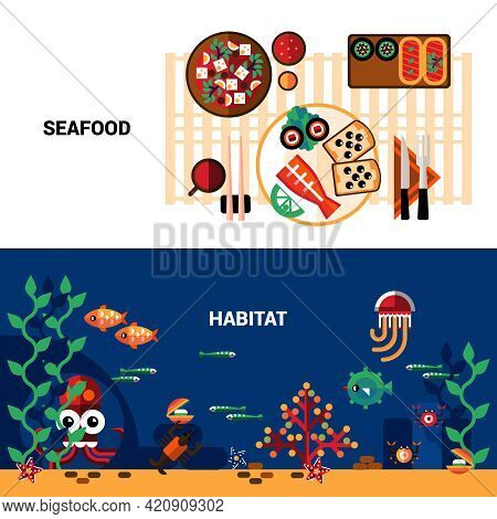 Horizontal  Banners Set Of Marine Life  And Table Served With Seafood Flat Vector Illustration