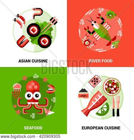 Design Concept Set Of Seafood  River Food And Dishs Of Asian And European  Cuisine In Cartoon Style