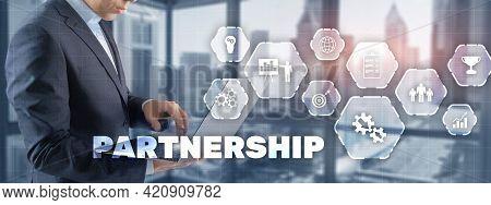 Business Partnership And Success Concept. Businessman Presses Finger Partnership
