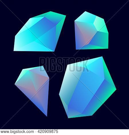 Set Of Faceted Gemstones: Opals, Aquamarines Or Sapphires, Glass Crystals For Bijou, Color Vector Il