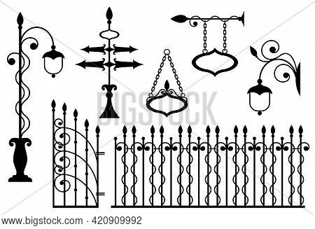 Iron Fence With Gates, Signboards, Pointers And Lanterns. Metal Entrance, Street Lights And Signs In