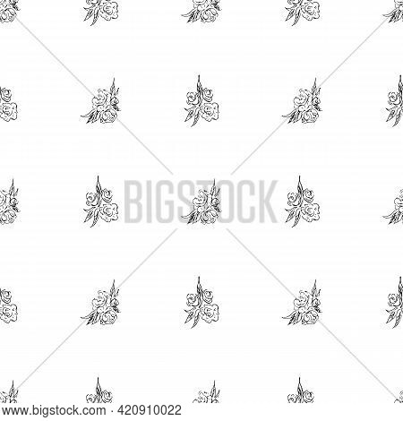 Doodle Simple Vector Seamless Pattern Of Hand-drawn Peonies. Seamless Pattern Of Hand-drawn Peonies.