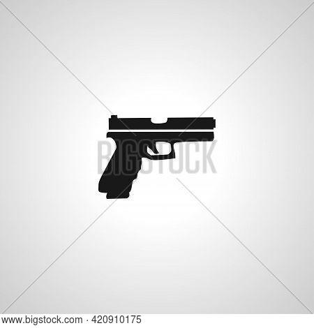 Gun, Pistol Simple Vector Icon. Gun Icon