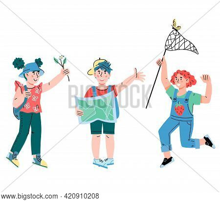 Kids Going To Travel. Little Tourists And Explorers Children, Cartoon Vector Isolated.