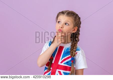 The Little Girl With The Painted English Flag Was Thinking.