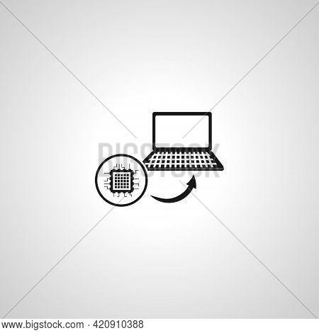 Cpu Installation Simple Vector Icon. Cpu Icon